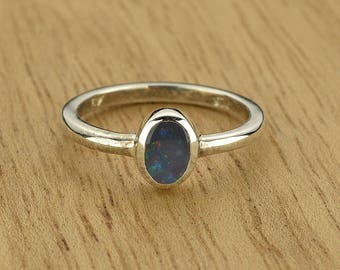 0.25ct Semi-Black Opal Ring in 925 Sterling Silver Size 4.5 SKU: 1979B013-925
