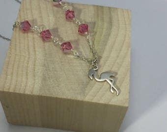 Flamingo charm necklace, Sterling Silver charm necklace , Swarovski pink necklace, READY TO SHIP