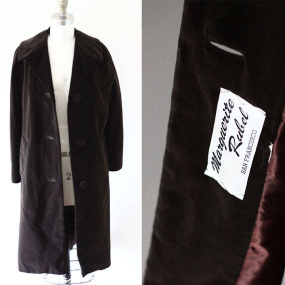 1960s brown velvet swing coat // brown velvet coat // vintage coat