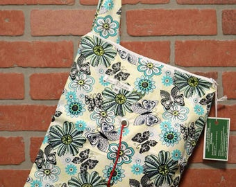 Medium Knitting Bag, Crochet, Knit, Yarn, Wool, Flowers, Yarn Storage, Yarn Bag with Hole, Grommet, Handle, MYB11