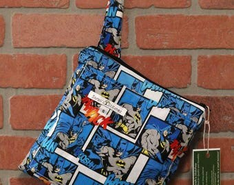 Small Wetbag, Batman, HANDLE, Cloth Diaper Wetbag, Cosmetic Bag, Diaper Bag, Holds One Diaper, Size Small with Pocket, S39