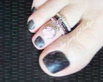 Stacking Toe Ring | Purple Rose Charm | Pink Glass Stone Charm | Stretch Bead Toe Ring