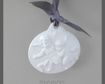 """Oval pottery Angels """"angelo"""" suspended Grey Ribbon"""