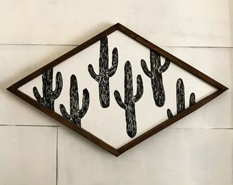 Rustic Cactus Wall Art - Wall Decor - Handpainted Sign - Home Decor