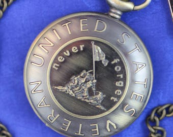 United States Veteran Pocket Watch • Patriotic • Quartz • Bronze Finish • Free Shipping! • Working and Ready for Use