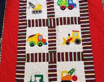Sale Boy Construction Bedding, Custom Boy Crib, Toddler Construction Bedding,  Digger, Dump Truck, Crane, Cement Mixer, Construction Nursery
