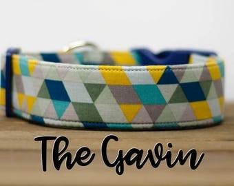 "Modern Geometric Multicolor Dog Collar ""The Gavin"""