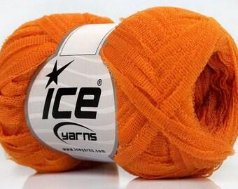 ball of yarn - 100% polyamide - orange Ribbon for scarves, hats, ect...