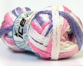 Ball of wool scarf white/purple/pink ruffle