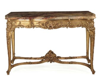 Exceptional Louis XV Style Giltwood Antique Center Table w/ Marble Top