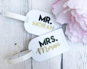 Mr. and Mrs. Luggage Tag Set // Honeymoon/Wedding