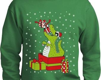 T-Rex Christmas Gift Funny Dinosaur Ugly Xmas Party Sweater Sweatshirt