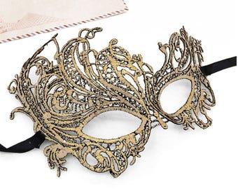 Halloween Carnival Gold Lace Face Eye Mask, Venetian Women Costume Masquerade Mask