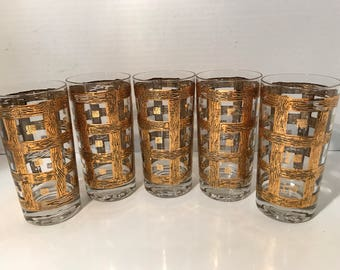 Bar Ware Drinking Glasses 5 PC Set Vintage 1950s -60s 24Kt Gold Plated Vintage Chic Highball's