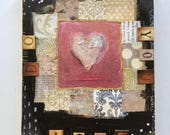 """Do what you love, 6"""" x 8"""" ORIGINAL mixed media collage/wall art/heart painting/love/quote/inspirational/red pink black/gift/"""