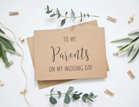 Rustic Wedding Card - To My Parents on My Wedding Day - Beautiful Calligraphy Style Card on Rustic Recycled Cardstock