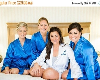 ON SALE Bride and Bridesmaid Robes with single Monogram of Front, Bridal Robes, Getting Ready Robes Robe,Bridal Shower Gift and Bride Gift