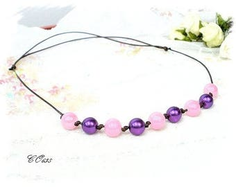 Purple and Pink Pearl Necklace Pearl adjustable CO638