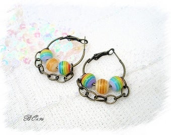 Chain-3 beads-BO496 and hoops earrings - multicolored