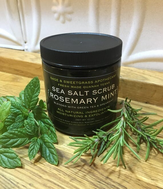 Rosemary Green Tea + Spearmint  Sea Salt Scrub + Face + Underarm + Body