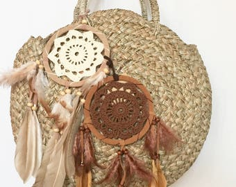 Dream  Cratcher  Malty  Handmade Rattan|Ata Grass Round bag; Bali bags;; Boho bag; Hippie Bags; Made from Bali, Indonesia