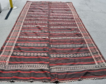 Large Handwoven Double Panel Village Kilim -- 12 ft. 7 in. by 6 ft.