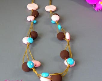 "Fantasy - ""Mentos"" pink, blue and Brown necklace"