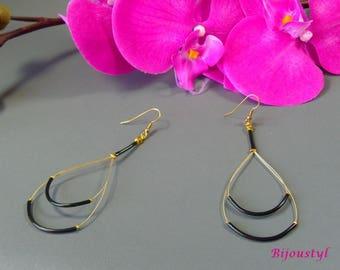 """Fancy double """"Scoubidou"""" black - medium gold tone earrings"""