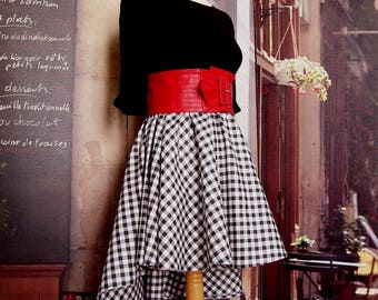 Elastic waist skirt Corolla Rockabilly train from 36 to 44 black white gingham cotton