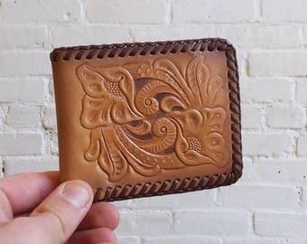 Tooled leather bifold wallet southwestern money cash holder clip vintage tan