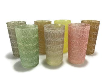 Vintage Spaghetti Glasses * Color Craft Tumblers * Shat-R-Pruf Drinkware * Set of 7