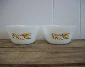 FREE SHIPPING**** 2 Vintage White Milk Glass Wheat Pattern 6 oz Custard Cups Fire King USA Condiment Dipping Ramekin Cup Dish