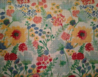 Double kitchen towel, extra wide yellow green red blue  teal  flowers Matching crocheted yellow top