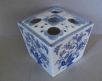Vintage Large Flower Frog - Porcelain Vase - Chinoiserie Porcelain Flower Frog - Chinoiserie - Blue - White
