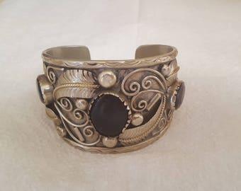 Silver Onyx Vintage Cuff - Statement Bracelet Handmade