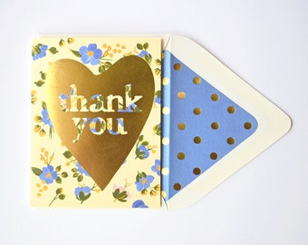 Thank You Gold Heart with Blue Florals