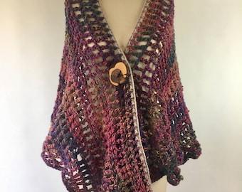 Crocheted wool shawl, wood button, earthy shawl - WILD FLOWER