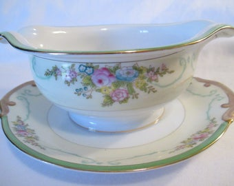 Vintage Meito China Formal Garden Gravy Boat w/Attached Underplate