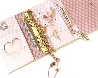 pink  coco personal sized ring bound planner. Pink blue or blsck available