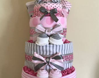 Pink Cheetah Baby Girl Diaper Cake