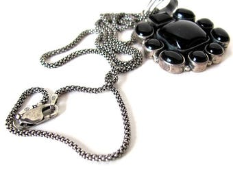 Black onyx necklace in sterling silver, vintage black stone pendant necklace