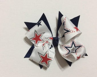 Red white and blue Patriotic star bow
