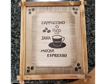 Handmade Coffee Woodburned Sign
