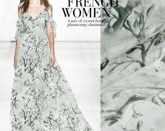 SALE! Printed silk chiffon fabric, scarf fabric, Chiffon scarf fabric, Wedding dress fabric by 1m long-(AJH3)