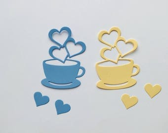 Cup of Hearts Cardstock Die Cuts Choose your colors!