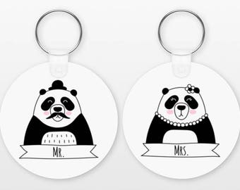 Couple Keychains, Mr and Mrs Keychains Set of 2, Panda Keychains Personalized Keychains for Couple, Matching Keychains, Animal Keyrings