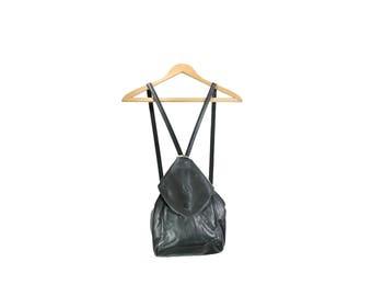 Black Leather Backpack Purse // Black Leather Backpack // H270