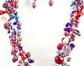 ON SALE Fabulous Grape Gemstone Wire Crochet Necklace Set, Multi-Strand, Women's Accessories, Chunky, Chic, Fashion Design, Statement Jewelr