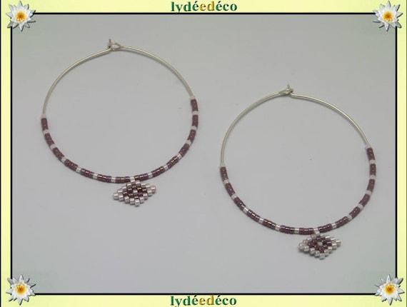 Round 925 sterling silver hoop earrings beadwork Japanese lilac purple white iridescent diameter 45mm