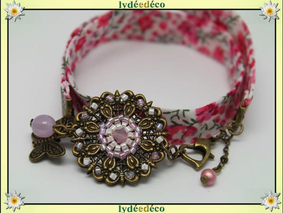 Retro spring print pink liberty flower and Pearl White Japanese Glass Butterfly brass bronze